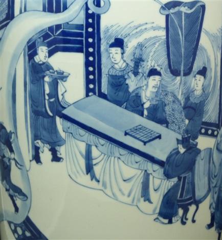 18th c chinese blue white scenic vase w rim