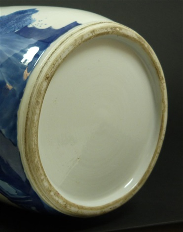 18th c chinese blue white scenic vase w rim