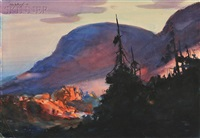 mountain sunset by john whorf