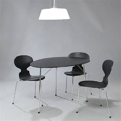 100 year jubilee set consisting of an egg table three ant chairs and stelling ceiling lamp by arne jacobsen