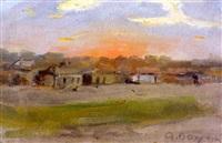 auringonlasku kylän takana (village in sunset) by alexandr ivanovich vahrameev
