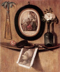 trompe l'oeil of prints, a fan, a rose in a wine bottle, a knife, a pot and a ball on a ledge on a wooden wall by andrea domenico remps
