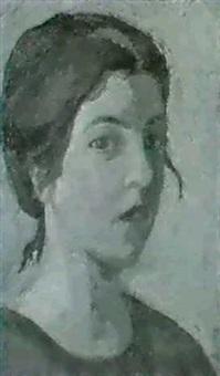 madchenportrait. in rotem kleid auf grunem hintergrund by valentine metein-gilliard