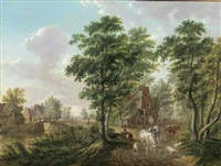 a peasant watering cattle near a farmhouse, in a wooded landscape by jan van limmen