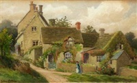 figure before country cottages by john cotton