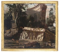 rustics amongst roman ruins and a bas relief mausoleum, a hilltop town beyond by william gowe ferguson