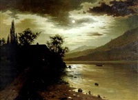 moonlit lake and cottage by fritz chwala