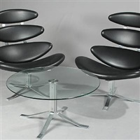 corona lounge chairs and table (model ej 5 and ej 5w) (set of 3) by poul volther