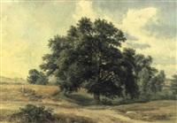 landschaft mit bäuerinnen im kornfeld by josef hoeger