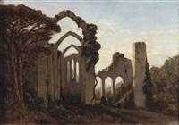 paesaggio con rovine e pastore by achille vertunni