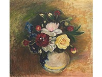 still life with camellias in a vase by pranas domsaitis