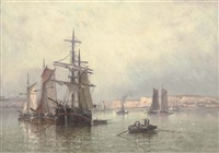 trading brigs drying their sails in a french harbour by l. prerette