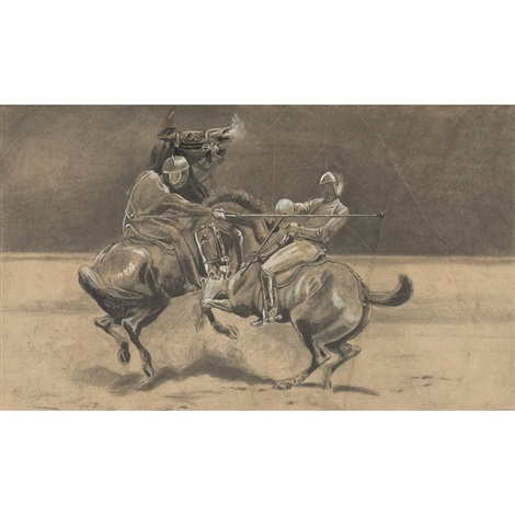 horseback fencing by arthur bowen davies