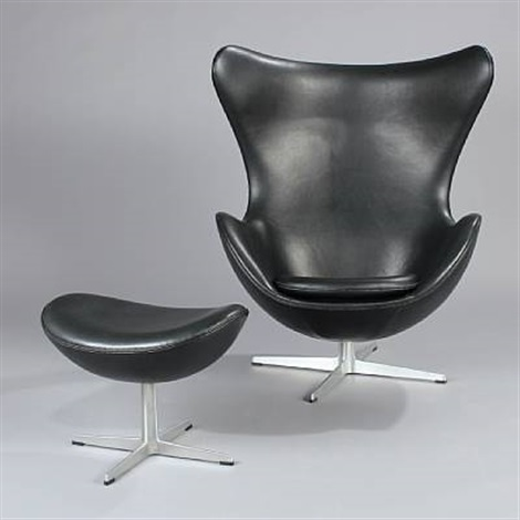 the egg chair with stool model 3317 and 3127set of 2 by arne jacobsen