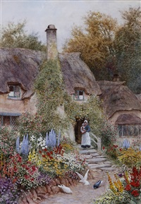 mother and child by a cottage doorway and garden by arthur claude strachan