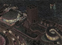nocturnal aerial view of a city by yvonne jacquette