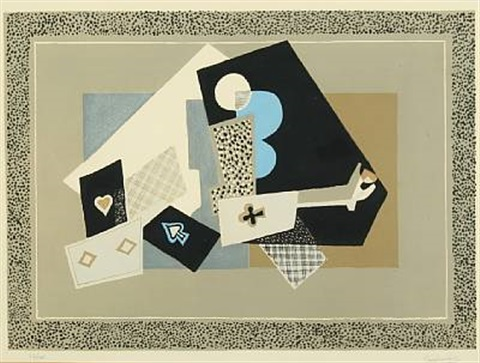 still life with cards and instrument by gino severini