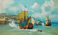 bataille navale devant le port d'alger by pierre faget-germain