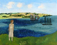 pigen ser på skibe. sommerdag (the girl is watching ships. summer day) by jens andersen sondergaard