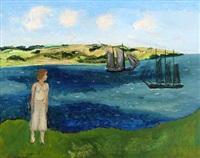 pigen ser på skibe. sommerdag (the girl is watching ships. summer day) by jens andersen sondergaard