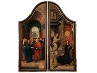 altartafeln mit den darstellungen vermählung mariens mit dem heiligen josef sowie die verkündigung (pair) (collab. w/jacob cornelisz van oostsanen) by jan van scorel