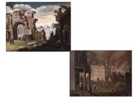 römische ruinenlandschaft sowie der brand von troja (pair) by horatius de hooch