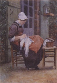 a breton seamstress by charles alphonse goldie