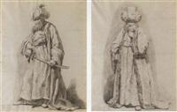 le bacha à trois queues: un guerrier turc barbu tenant un sabre, tourné vers la gauche by guillaume voiriot