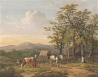 landschaft mit kutscher und hirtin im gespräch by anthony oberman