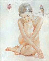 sitzender weiblicher akt by xu huazhou