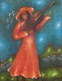 femme jouant de la guitare by edouard zelenine