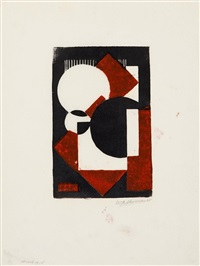 composition in red and black i.(?) by wobbe alkema