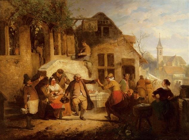tanz vor der taverne by eugène françois de block