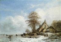 winterlandschap met schaatsenrijders by albert eduard moerman