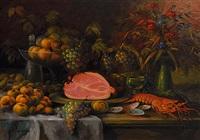 früchtestilleben mit schinken und krebs by gabriele arnhardt-deninger