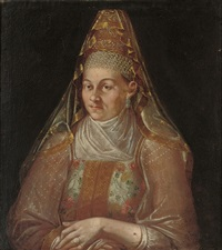 portrait of a woman in traditional costume by ivan adolskii