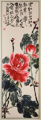 rollbild mit roten päonien und gedicht des qi baishi by qi liangsi