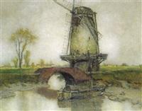 elbmarsch mit windmühle (hasseldorf?) by karl leipold