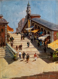 blick auf die stufen der rialtobrücke in venedig by t. vianello