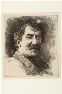 a head and shoulders portrait of j.a.m. whistler by mortimer luddington menpes