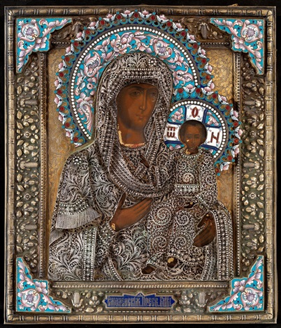 the mother of god of smolensk in a silver-gilt, filigree and enamel oklad