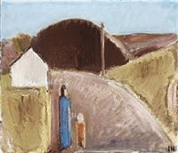landscape with figures by johannes hofmeister