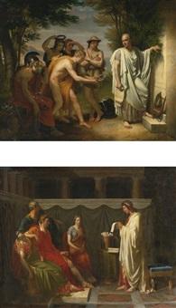horace au tombeau de virgile and virgile lisant son enéïde devant auguste: two works by jean bruno gassies