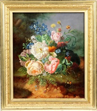 floral still life with butterflies and insects by amalie kaercher