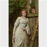 lovers by a fence by charles sillem lidderdale