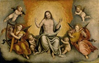 christ in glory with angels and cherubs by bernardino lanino