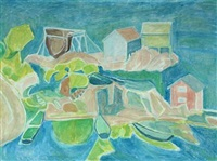 costal scene with rocks, small houses and boats by christine swane
