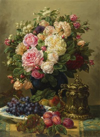 still life with roses, grapes and plums by jean-baptiste robie