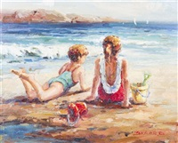 boy and girl on the beach by claude-marie buford