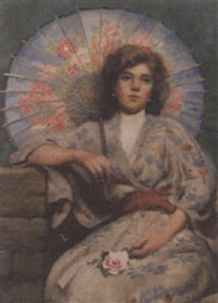a lady in a chinoiserie dress by charles alphonse goldie